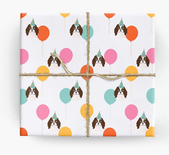 Birthday Balloon Wrapping Paper with Japanese Chin Icons