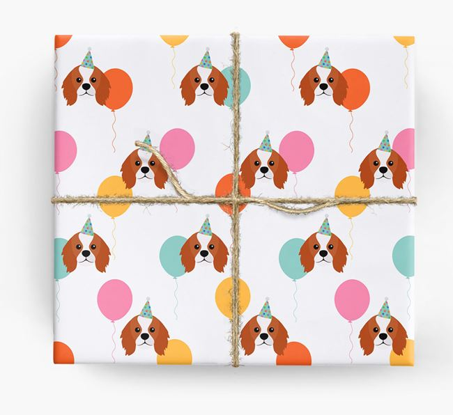 Birthday Balloon Wrapping Paper with King Charles Spaniel Icons