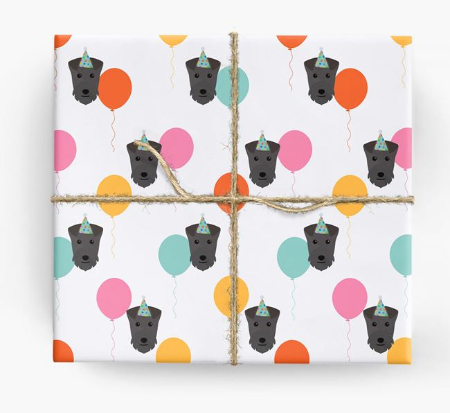 Birthday Balloon Wrapping Paper with Lakeland Terrier Icons