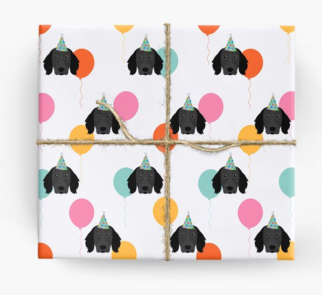 Birthday Balloon Wrapping Paper with Large Munsterlander Icons