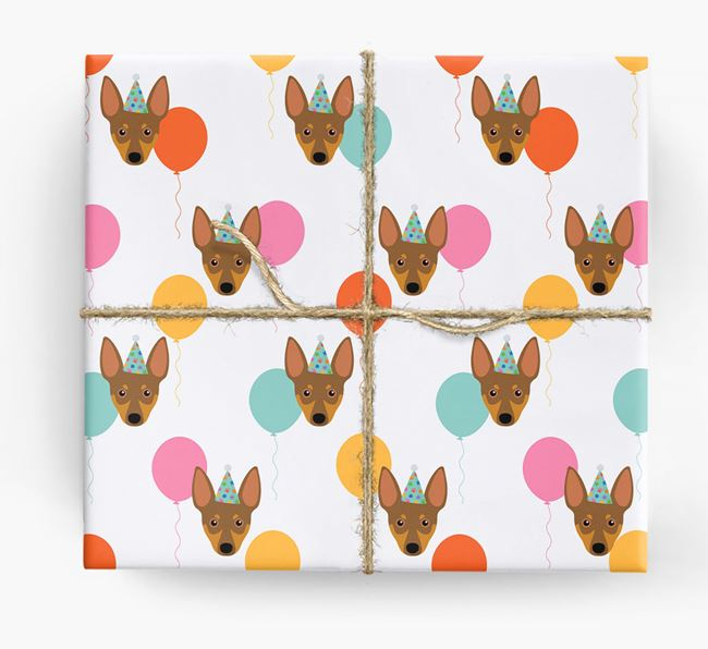 Birthday Balloon Wrapping Paper with Miniature Pinscher Icons