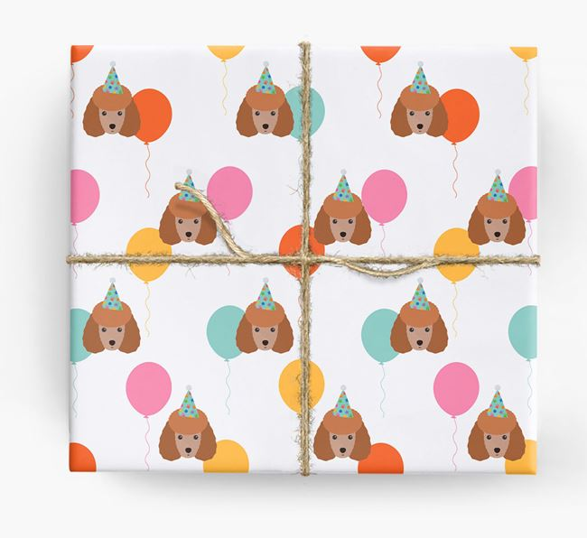 Birthday Balloon Wrapping Paper with Miniature Poodle Icons