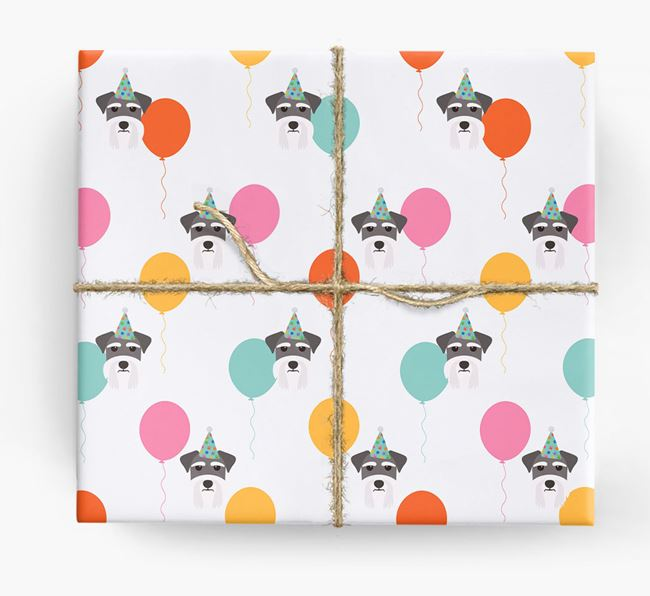 Birthday Balloon Wrapping Paper with Miniature Schnauzer Icons