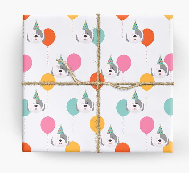 Birthday Balloon Wrapping Paper with Old English Sheepdog Icons