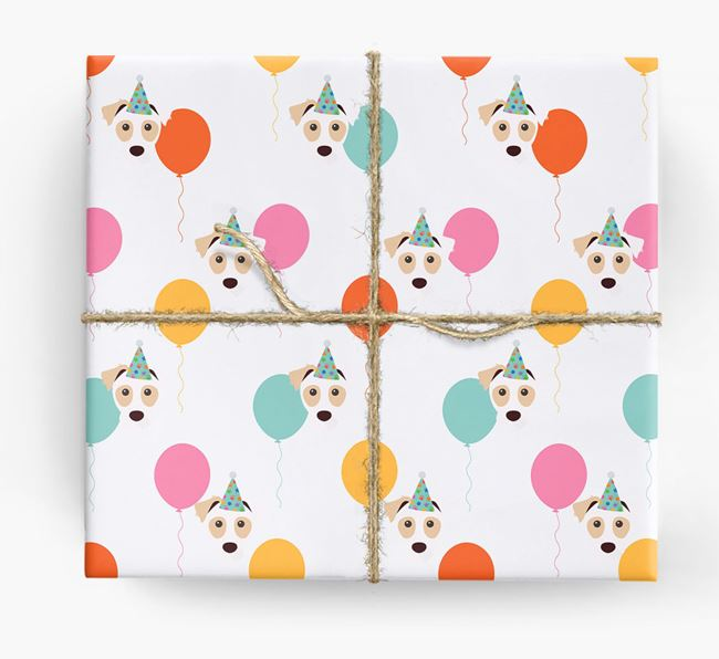 Birthday Balloon Wrapping Paper with Parson Russell Terrier Icons