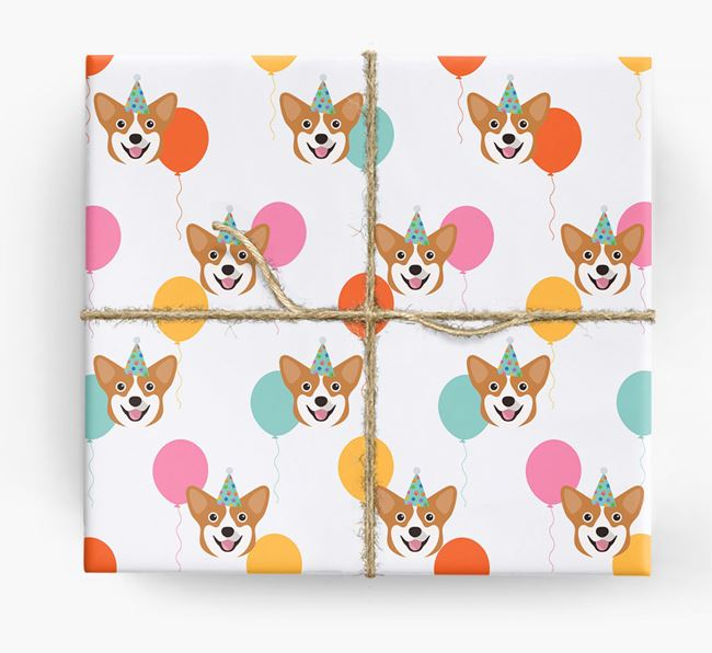 Birthday Balloon Wrapping Paper with Pembroke Welsh Corgi Icons