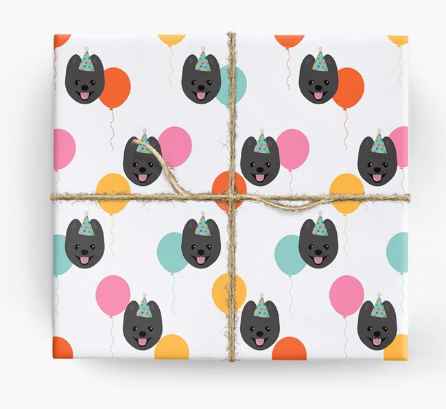 Birthday Balloon Wrapping Paper with Pomeranian Icons
