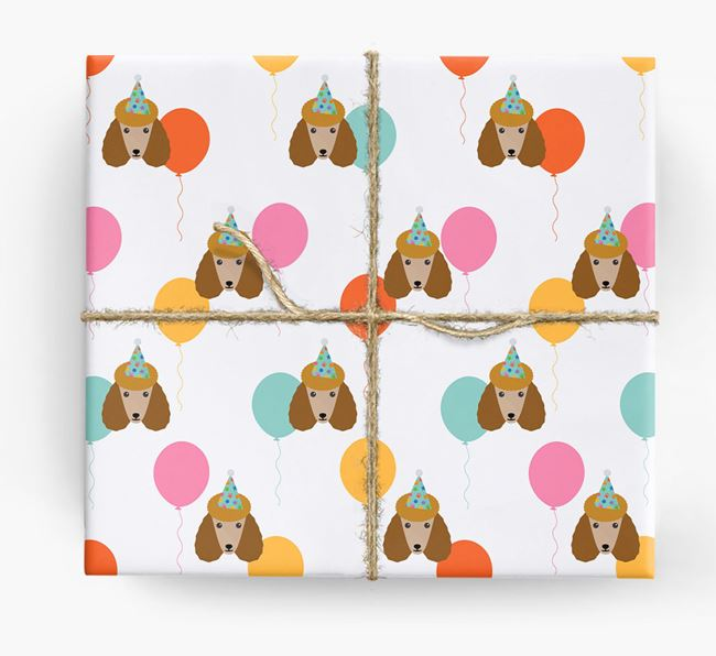 Birthday Balloon Wrapping Paper with Poodle Icons