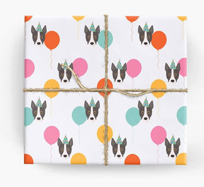 Birthday Balloon Wrapping Paper with Portuguese Podengo Icons