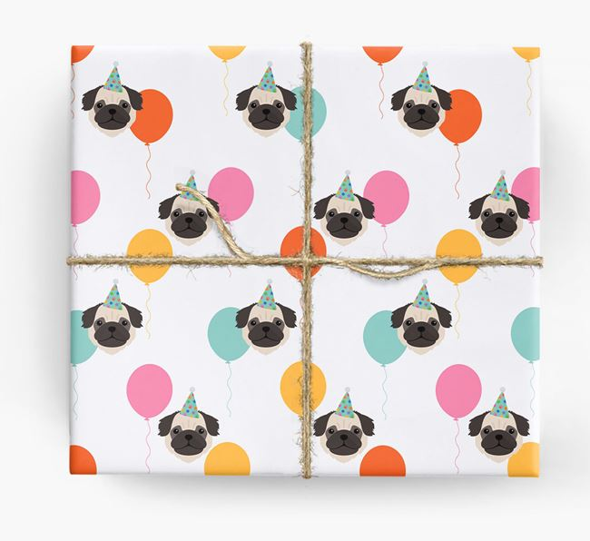 Birthday Balloon Wrapping Paper with Pug Icons