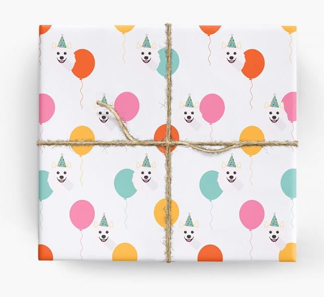 Birthday Balloon Wrapping Paper with Samoyed Icons