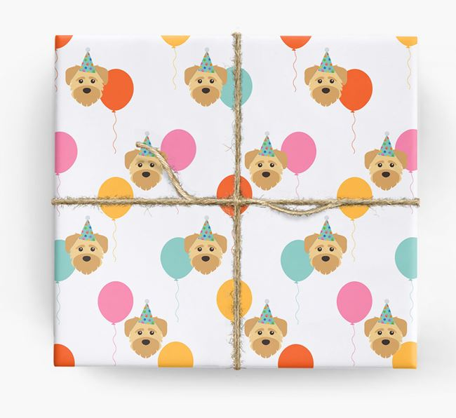 Birthday Balloon Wrapping Paper with Schnoodle Icons