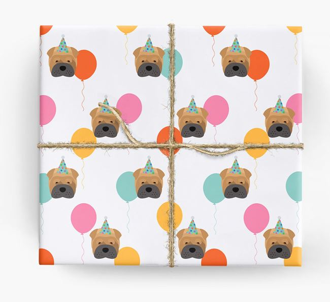 Birthday Balloon Wrapping Paper with Shar Pei Icons