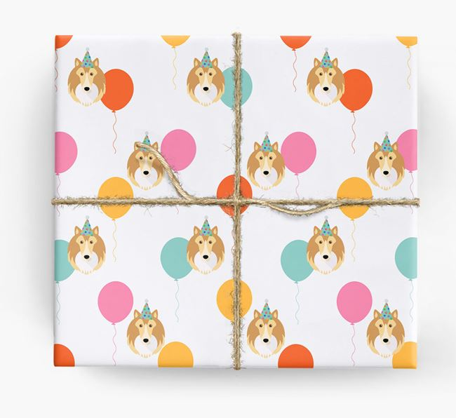 Birthday Balloon Wrapping Paper with Shetland Sheepdog Icons