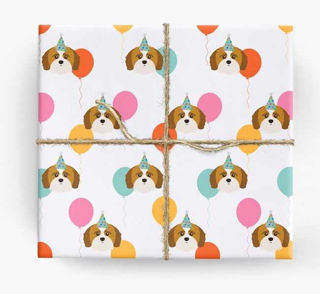 Birthday Balloon Wrapping Paper with Shih-poo Icons
