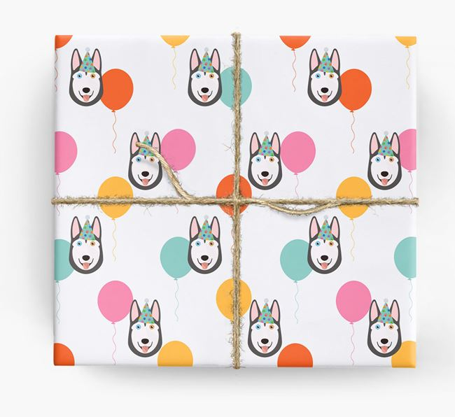 Birthday Balloon Wrapping Paper with Siberian Husky Icons