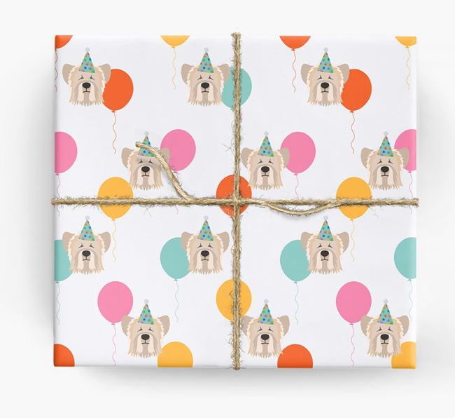 Birthday Balloon Wrapping Paper with Skye Terrier Icons