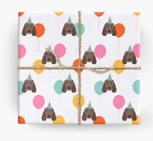 Birthday Balloon Wrapping Paper with Springer Spaniel Icons