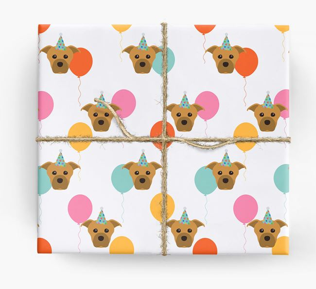 Birthday Balloon Wrapping Paper with Staffordshire Bull Terrier Icons