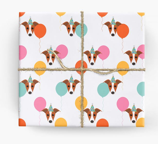 Birthday Balloon Wrapping Paper with Whippet Icons