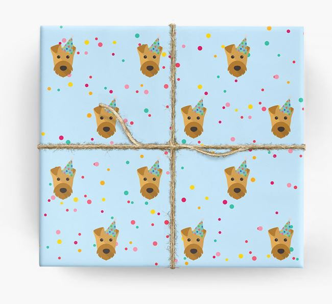 Birthday Confetti Wrapping Paper with Airedale Terrier Icons