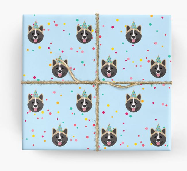 Birthday Confetti Wrapping Paper with Akita Icons