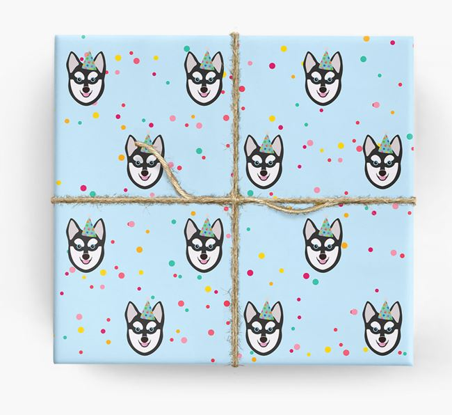 Birthday Confetti Wrapping Paper with Alaskan Klee Kai Icons