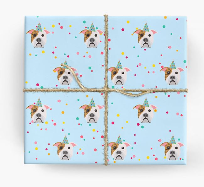 Birthday Confetti Wrapping Paper with American Bulldog Icons