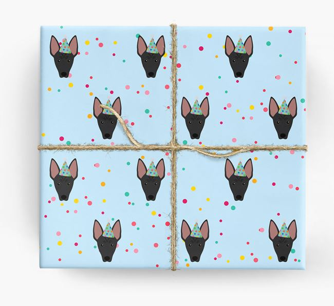 Birthday Confetti Wrapping Paper with American Hairless Terrier Icons