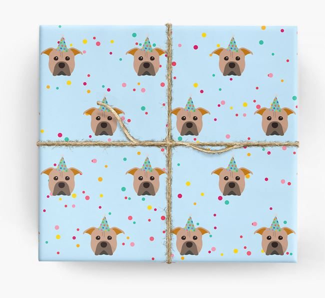 Birthday Confetti Wrapping Paper with American Pit Bull Terrier Icons