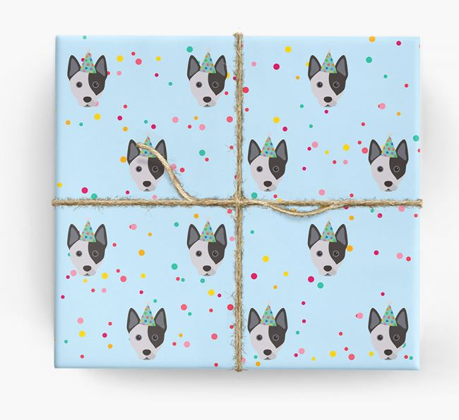 Birthday Confetti Wrapping Paper with Australian Cattle Dog Icons