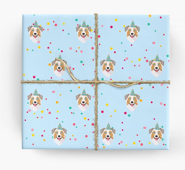 Birthday Confetti Wrapping Paper with Australian Shepherd Icons