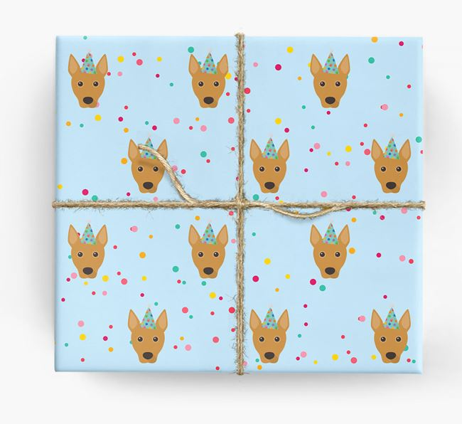 Birthday Confetti Wrapping Paper with Basenji Icons