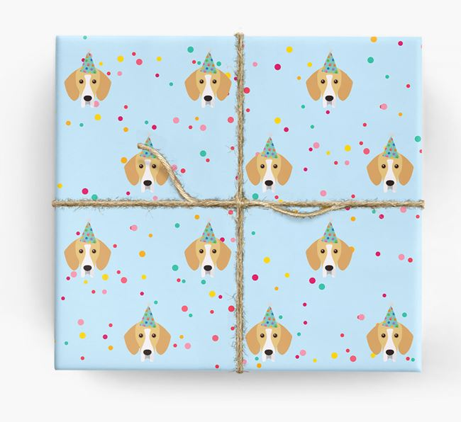 Birthday Confetti Wrapping Paper with Bassador Icons