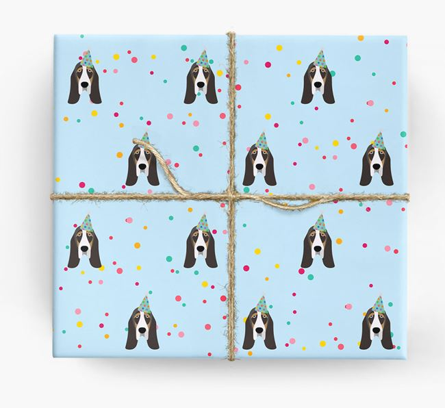 Birthday Confetti Wrapping Paper with Basset Hound Icons