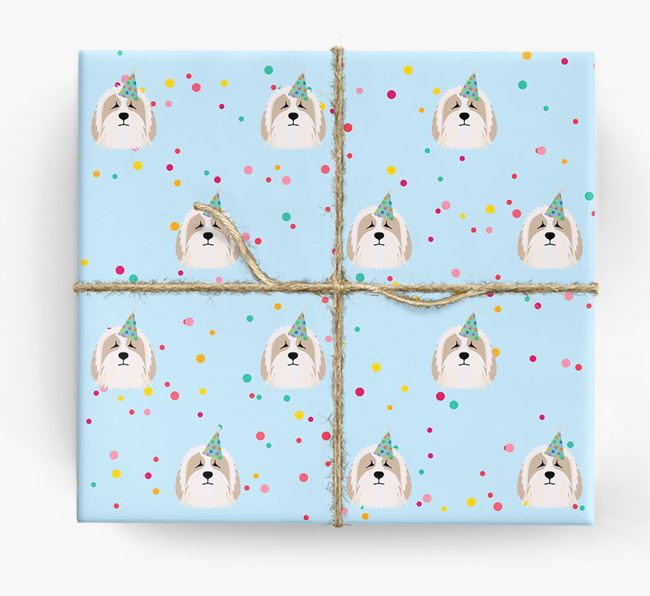 Birthday Confetti Wrapping Paper with Bearded Collie Icons