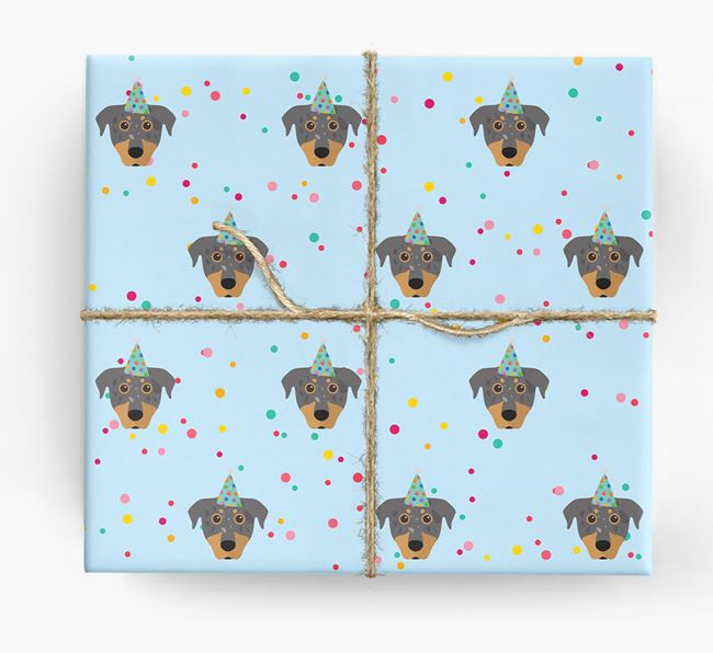 Birthday Confetti Wrapping Paper with Beauceron Icons