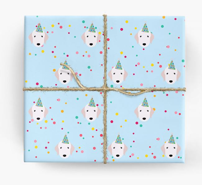 Birthday Confetti Wrapping Paper with Bedlington Terrier Icons