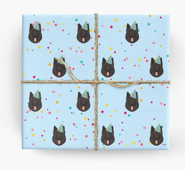 Birthday Confetti Wrapping Paper with Belgian Groenendael Icons