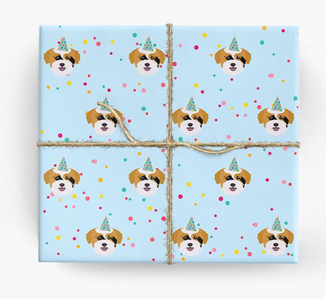 Birthday Confetti Wrapping Paper with Bichon Yorkie Icons