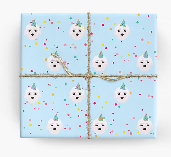 Birthday Confetti Wrapping Paper with Bich-poo Icons