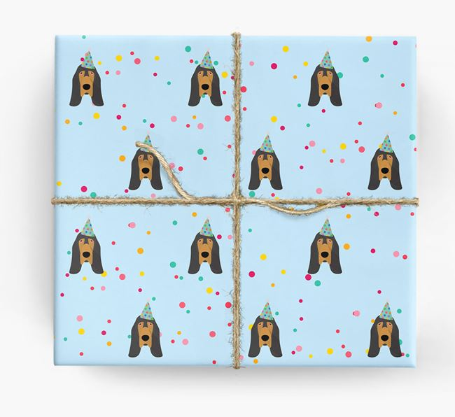 Birthday Confetti Wrapping Paper with Bloodhound Icons