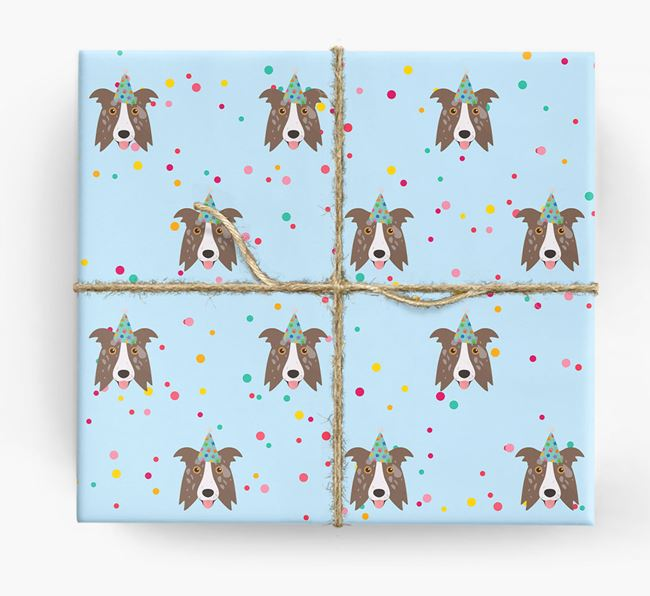 Birthday Confetti Wrapping Paper with Border Collie Icons