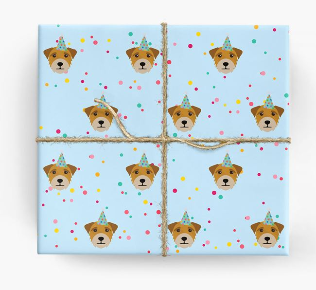 Birthday Confetti Wrapping Paper with Border Terrier Icons