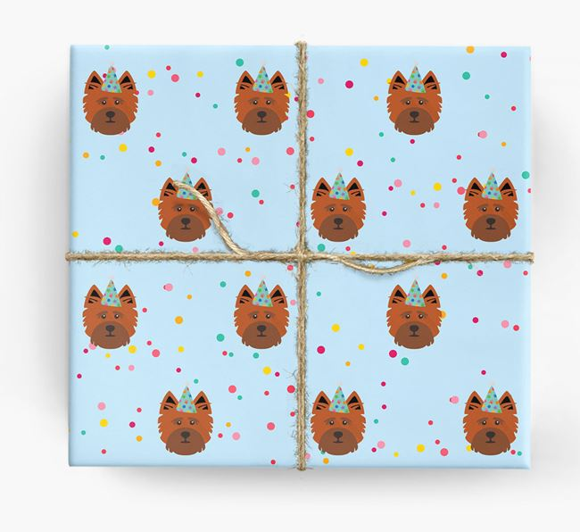 Birthday Confetti Wrapping Paper with Cairn Terrier Icons