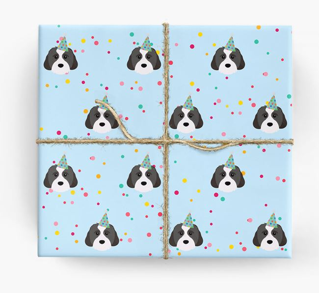 Birthday Confetti Wrapping Paper with Cavachon Icons