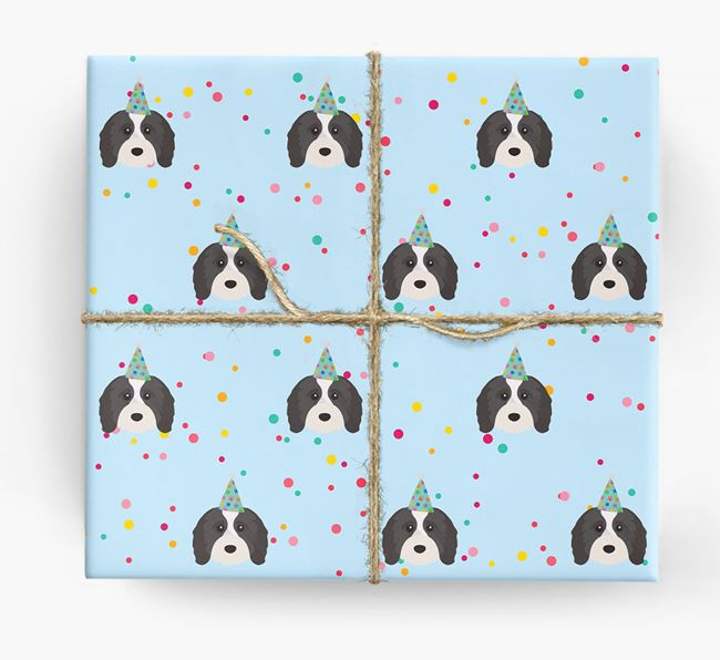 Birthday Confetti Wrapping Paper with Cavapoo Icons