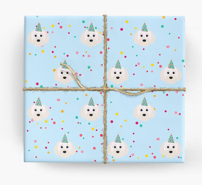 Birthday Confetti Wrapping Paper with Cavapoochon Icons