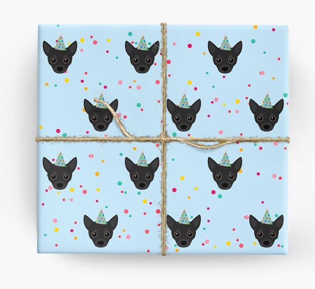 Birthday Confetti Wrapping Paper with Chihuahua Icons