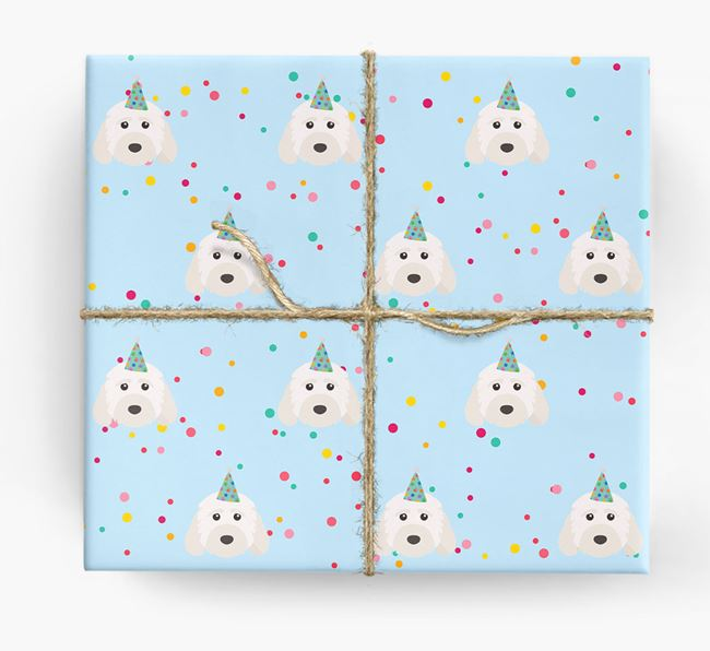 Birthday Confetti Wrapping Paper with Cockapoo Icons